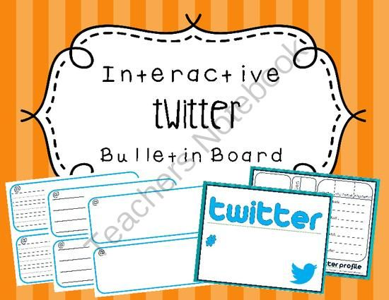 Interactive Twitter Bulletin Board from Hello Little Miss Teacher on TeachersNotebook.com (8 pages)  - This document includes everything you need for creating a twitter interactive bulletin board.