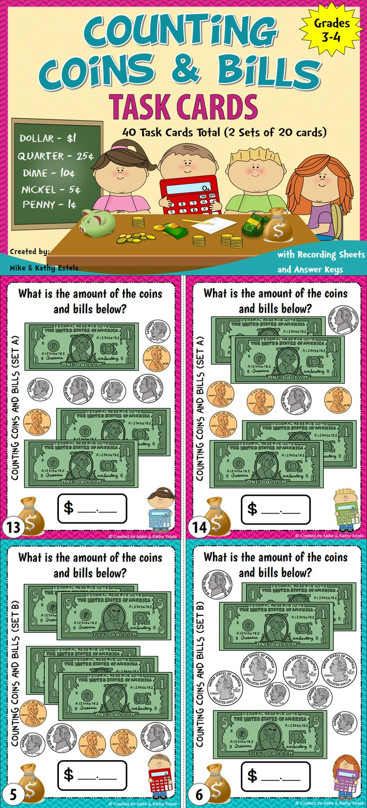 Money Task Cards {Counting Coins and Bills} $
