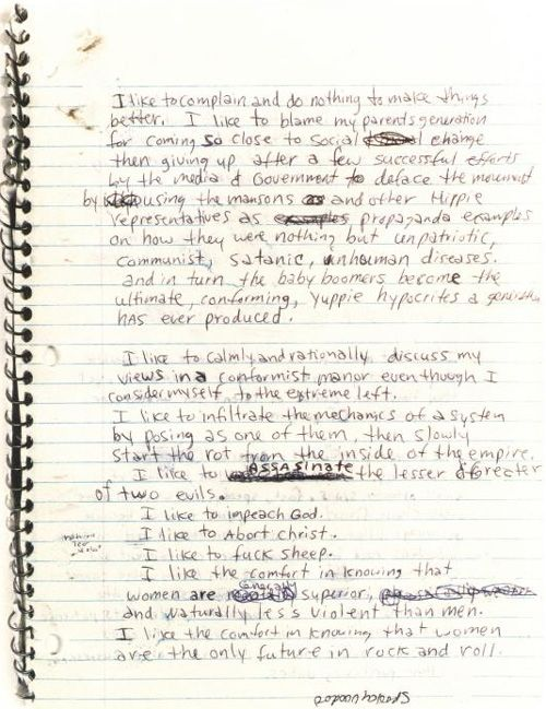 Happy Birthday, Kurt Cobain: Peek Inside the Icon's Journals | Brain Pickings