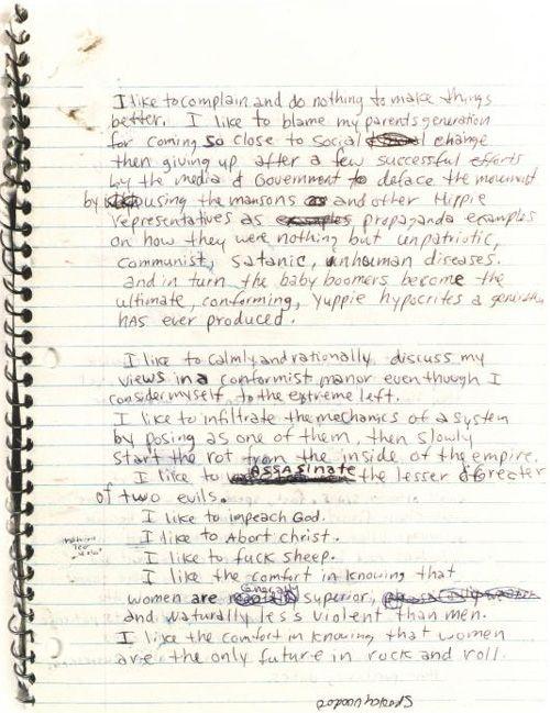 Happy Birthday, Kurt Cobain: Peek Inside the Icon's Journals | Brain Pickings