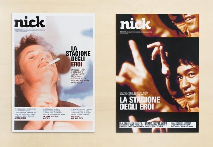 Silvia Sfligliotti: Masthead and graphic design for the cinema magazine Nick. In collaboration with Mauro Carichini.
