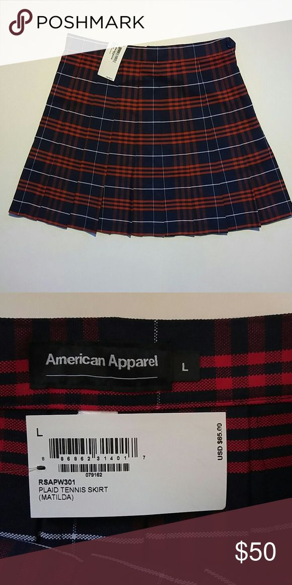 AA plaid tennis uniform skirt New with tags, never worn. Dark navy base with red and white plaid pattern. American Apparel Skirts