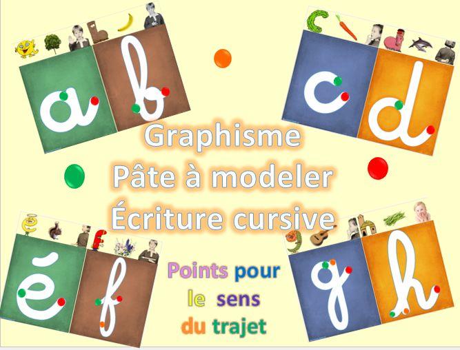 Les lettre cursive et chiffres en pâte à modeler : graphisme - dys é moi Zazou et Madel