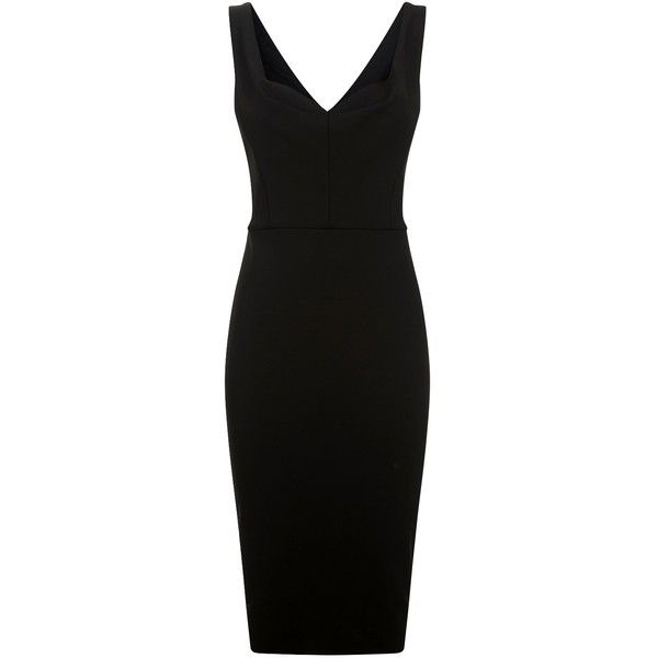 Victoria Beckham Curve Cami Fitted Dress (€1.560) ❤ liked on Polyvore featuring dresses, sweetheart neckline dresses, victoria beckham, fitted dresses, v back dress and pleated dresses