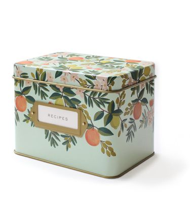 Citrus Floral Tin Recipe Box. Love this design, and a little more reasonable price wise than the other recipe box I pinned . . .