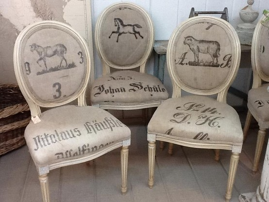 FEED SACK CHAIRS --- Placement of the images and text on each chair is important for a great look.