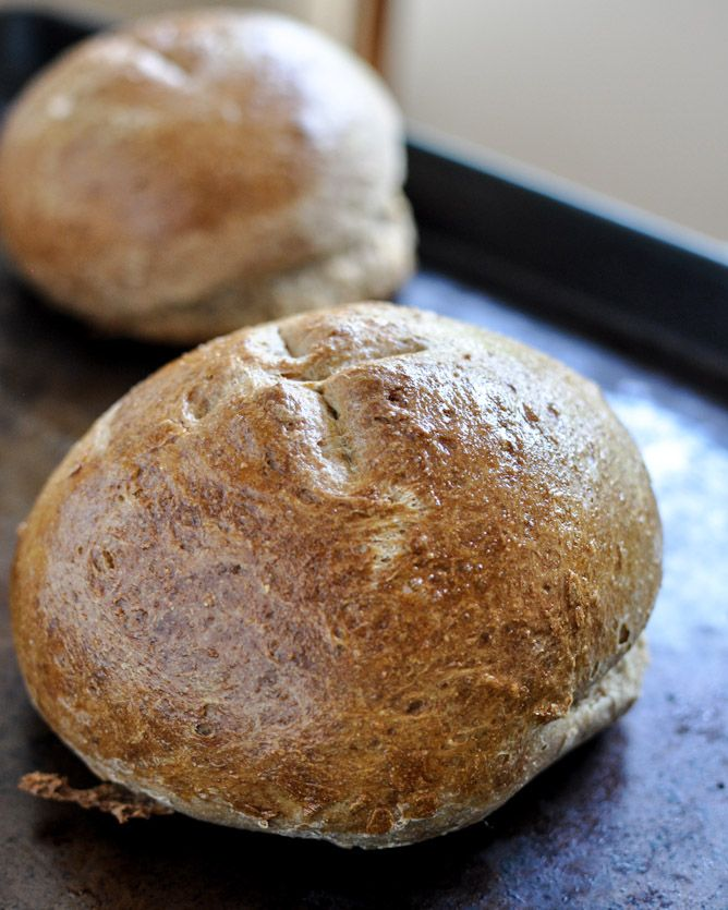 Easy homemade whole wheat bread... just like Panera bread bowls! So making these for dinner tonight!