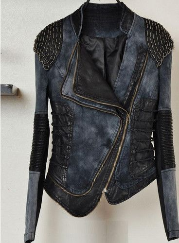 love this asymmetrical steam punk denim and leather jacket with shoulder pads