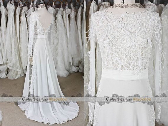 Sexy Long Sleeve Split Wedding DressCasual by CliviaDesigns