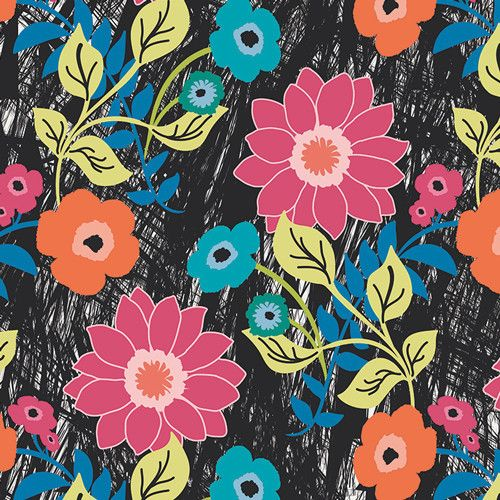 Jungle Ave. Sara Lawson Floral Asphalt Art Gallery Fabrics Stitch Piece Loop