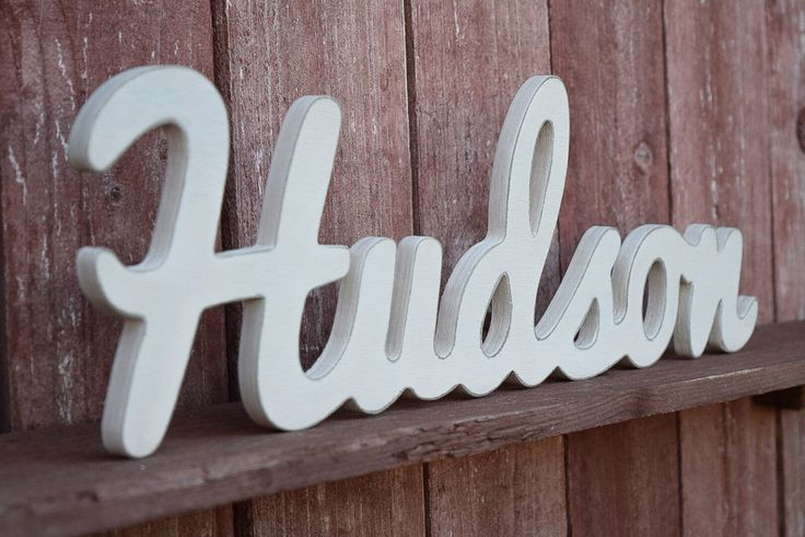 Hudson - Baby Name Wood Sign - Nursery Decor - Wooden Baby names by lucysletters123 on Etsy