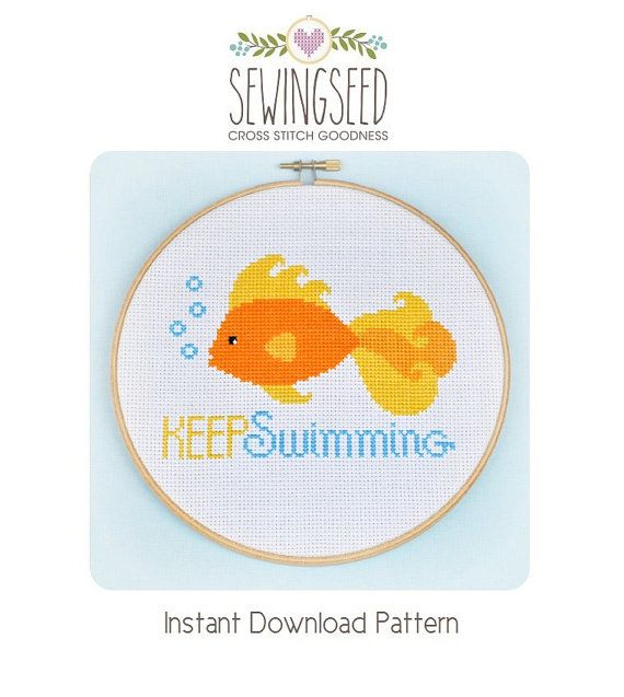 Goldfish, Keep Swimming Cross Stitch Pattern available for instant download via Etsy. Pattern Details: This pattern is in PDF format and consists