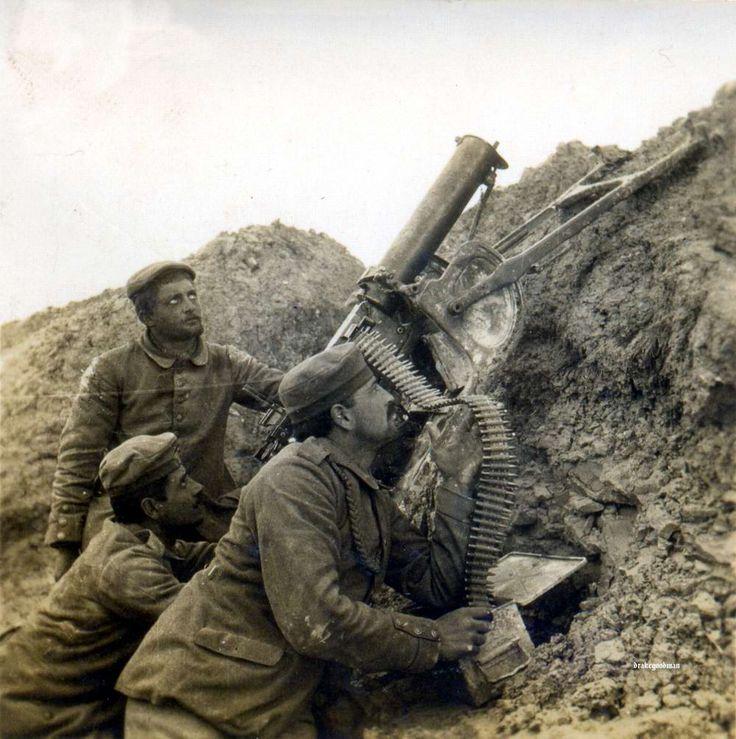 Станковый пулемет MG 08 калибра 7,92 мм, используемый для зенитной стрельбы / WWI; MG08 Anti-Aircraft
