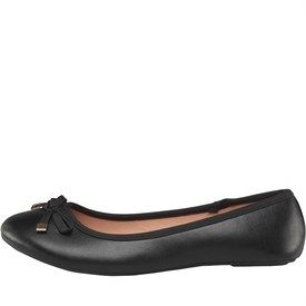 Board Angels Womens Ballerina Shoes With Bow Detail Black