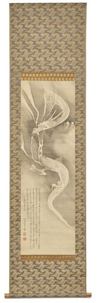 Hanging scroll (kakejiku) with deer antler rollers and a monochrome ink-painting depicting a dragon and an inscription dated: Ka'ei 2 (1849), signed and sealed: Yamada Tossai Unry (1814-1873) in marked box  H.: 185 cm, l.: 49,5 cm