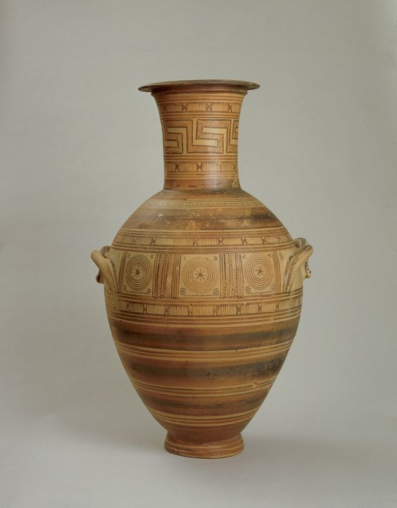 Greek geometric amphora, Middle Geometric II, first half of the 8th century B.C. 76.5 cm high. George Ortiz collection