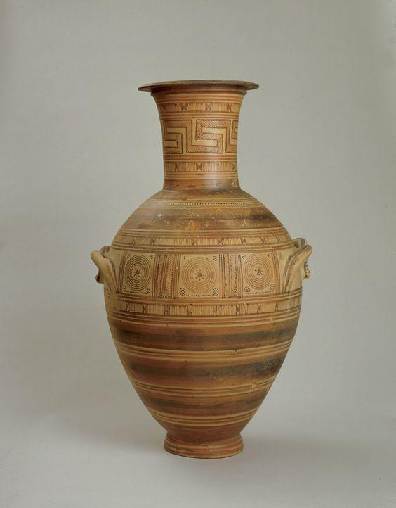 Greek geometric amphora, Middle Geometric II, first half of the 8th century B.C. 76.5 cm high. George Ortiz collection