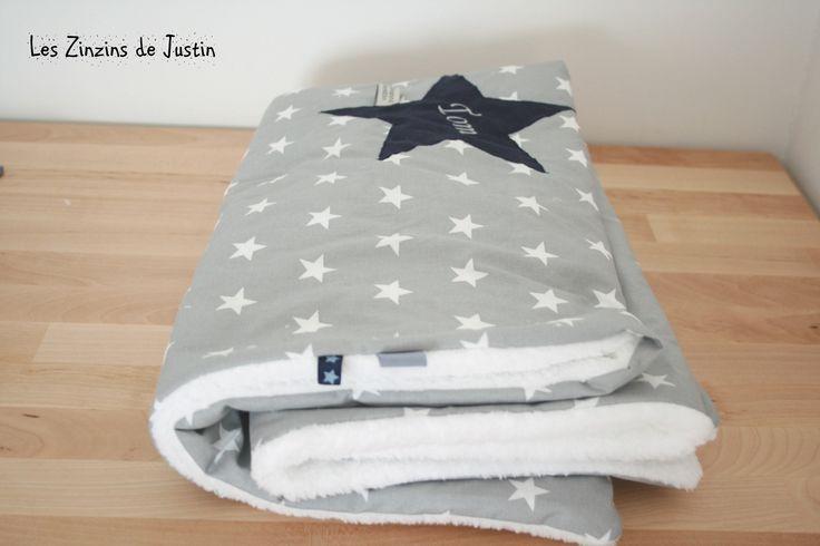 couverture/plaid motif étoile brodée et personnalisée : Puériculture par les-zinzins-de-justin