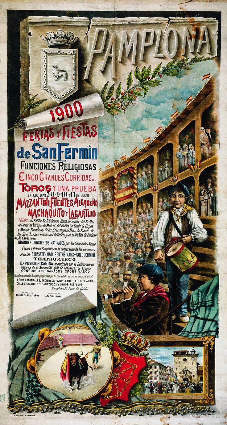Cartel de los Sanfermines de 1900 - Fiestas y ferias de San Fermín, Pamplona.