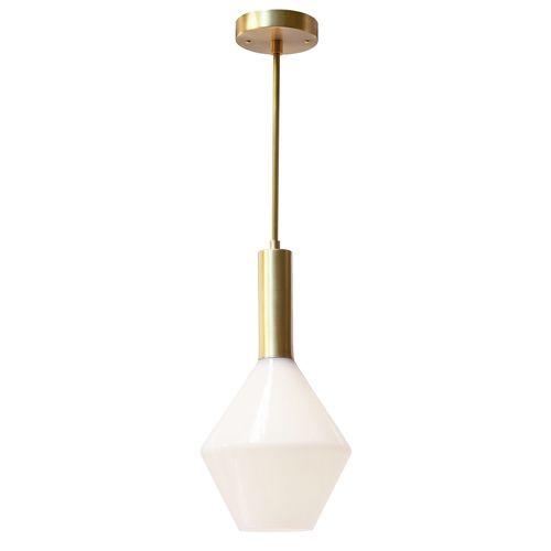 "Cedar & MossAurora in brass w/opal shade $289 (42"" length canopy to bottom of shade)  Hand-blown opal glass shade included. Shade 9"" wide, 10"" tall  Canopy width 5""  http://www.cedarandmoss.com/lighting/aurora-pendant"
