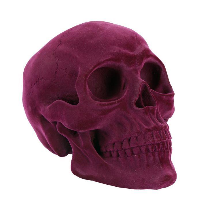 Purple Flocked Skull Money Box