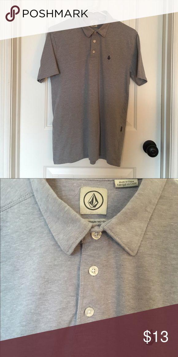Men's Polo T Shirt Men's gray Volcom Stone polo t-shirt, cotton fabric, 3 buttons Volcom Shirts Polos