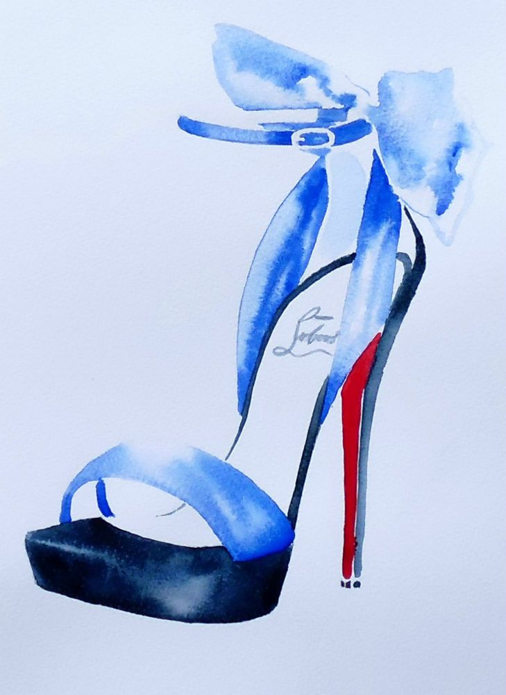 Christian Louboutin Original Watercolour Fashion Illustration High Heel Shoes