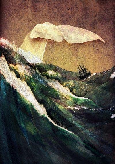 Moby Dick  by Rachael ShankmanRachael Shankman, Collage Artwork, Mobydick, Dick Art, Illustration, Art Prints, White Whales, Sea, Moby Dick