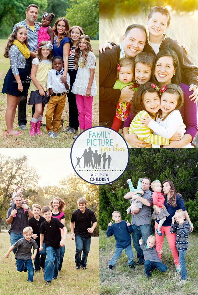 Family Posing Ideas for 5 or more kids! Great ideas for your family photo this year.