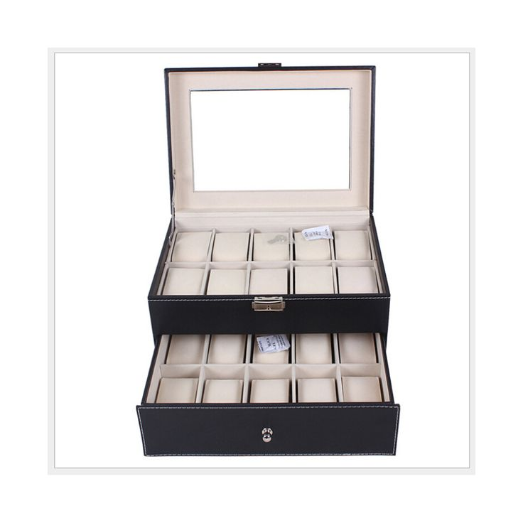 20 Positions Two-layer Watch Box Pack PU Leather Watch Storage Box Display Box