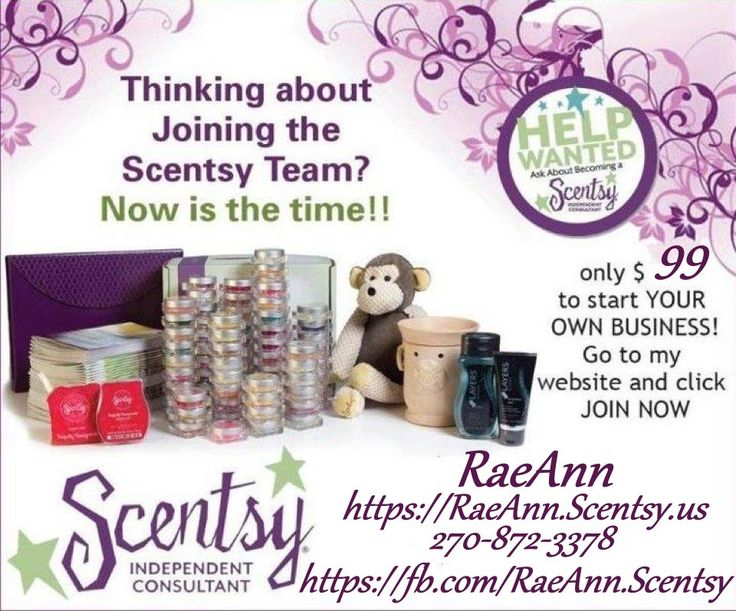 Join my amazing team! Scentsy is an amazing company to work with! We have many amazing incentives and promotions you can receive right off the bat! If you are interested in joining our amazing team contact me, even if you just have questions I would love to help you!   RaeAnn, Independent Scentsy Consultant 270-872-3378 https://RaeAnn.Scentsy.us https://fb.com/RaeAnn.Scentsy