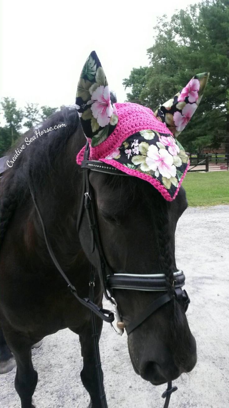 Pink Hawaiian Tropical Hibiscus Flower Horse Fly Ear Bonnet Veil by CreativeSeaHorse on Etsy