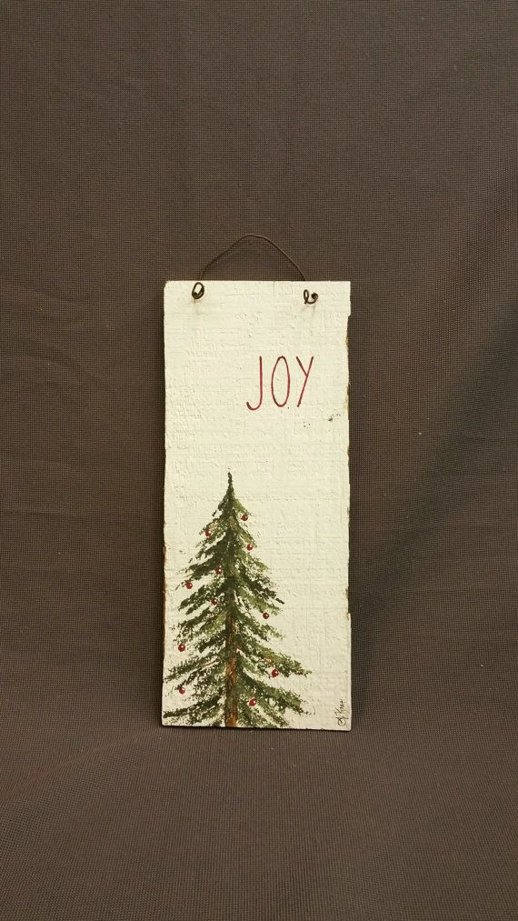 GIFTS UNDER 20, Christmas Reclaimed Wood Pallet Art, Joy, Hand painted Pine tree, Red Christmas decorations, upcycled shabby chic