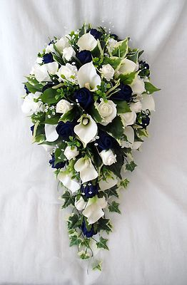 bouquet artificial wedding flowers brides teardrop bouquet cala lilies ivory navy blue roses