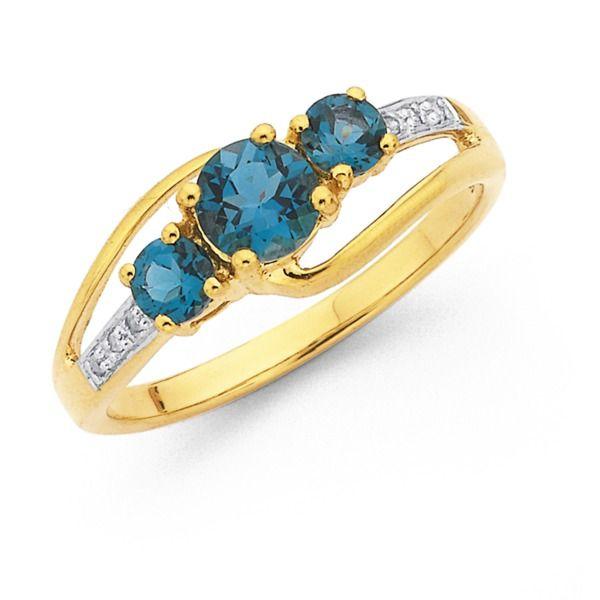 9ct London Blue Topaz & Diamond Ring