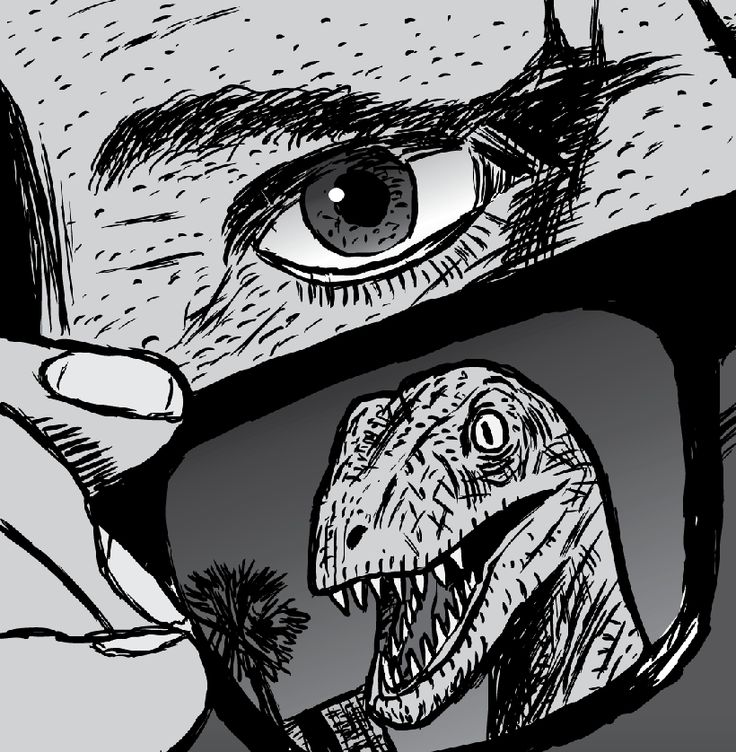Only those who can see the supernormal can learn to silence the reptile.  Image from Stuart McMillen's comic Supernormal Stimuli.