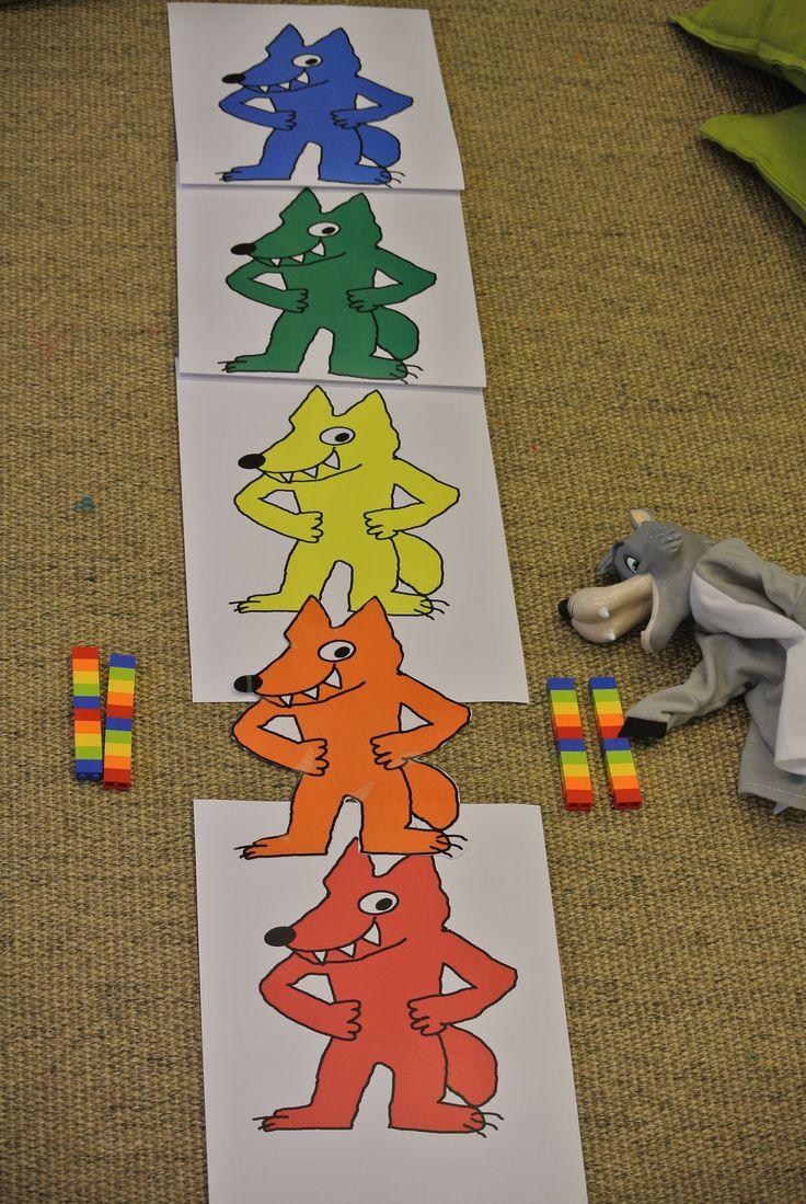 Les couleurs construire une tour en lego en suivant les couleurs des loups