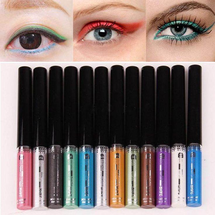 12 cores New Hot brilhante moda não florescendo maquiagem duradoura à prova d ' água colorido delineador líquido da caneta lápis alishoppbrasil