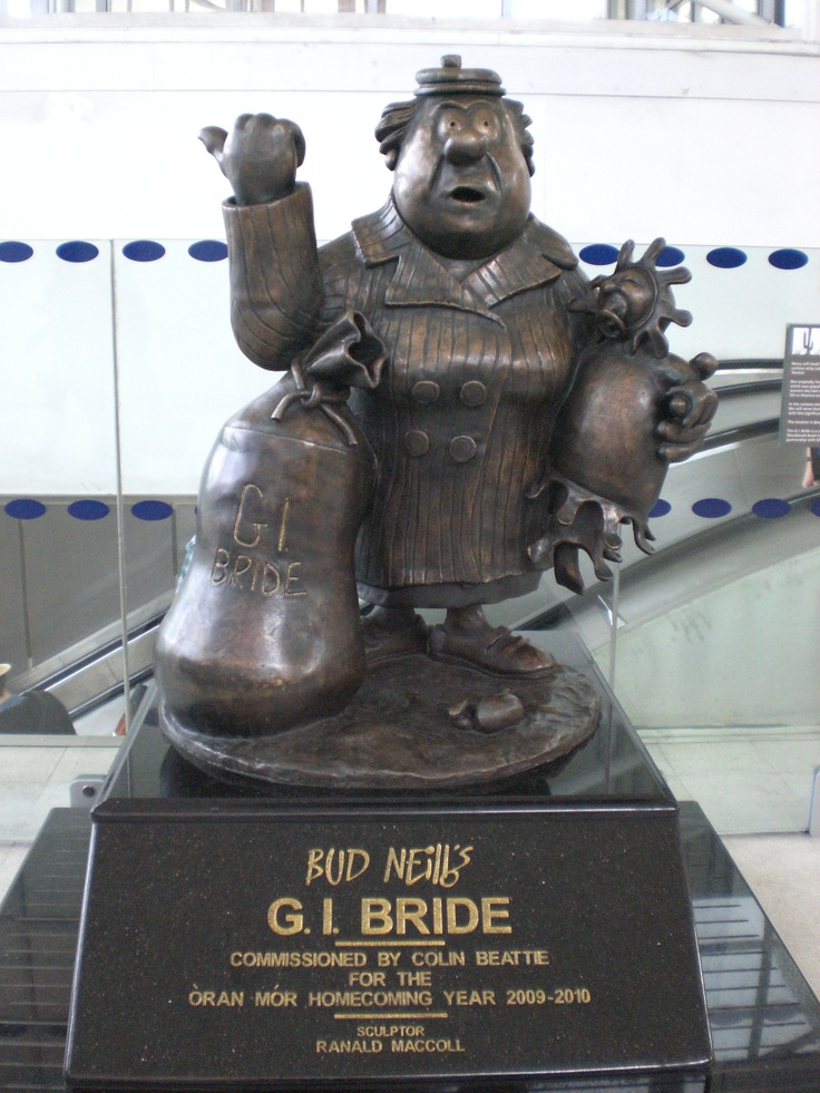 GI Bride by Bud Neill at Partick Train Station  Bud Neill (1911–1970) was a Scottish cartoonist who drew cartoon strips for a number of Glasgow based newspapers between the 1940s and 1960s. Following his death, his work has attained cult status with a worldwide following.