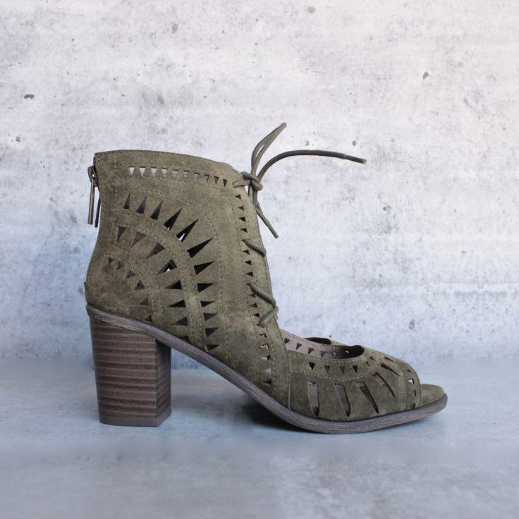 'leilani' vegan suede cutout lace up chunky mule heel - olive - shophearts -