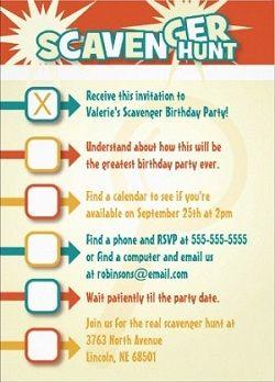 Scavenger Hunt Invitations cute!