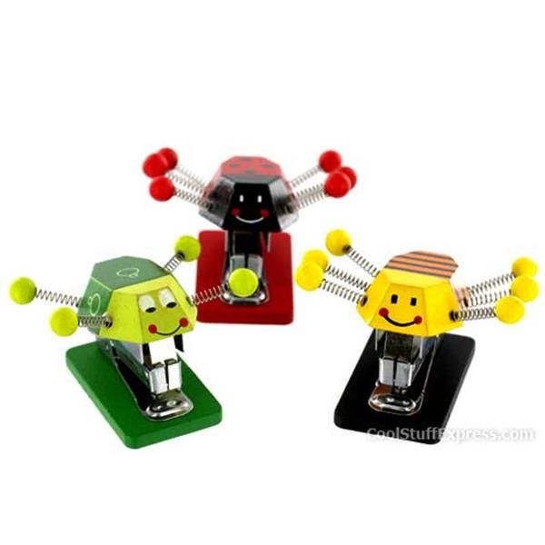 Cute Critter Mini Wooden Stapler in Bee, Ladybug, and Frog