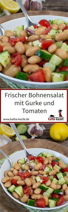 Frischer Bohnensalat mit Gurke und Tomate