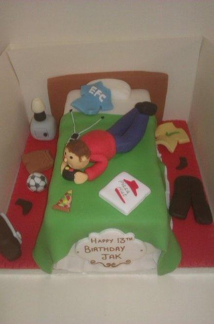 Boy on a bed cake  Cake by cupandcakeformby