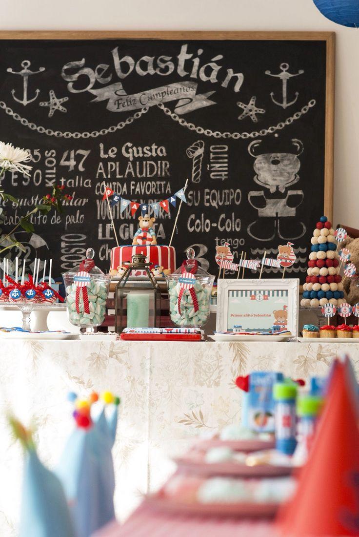 Mesa dulce osito marinero vintage de celebra candela. Celebracandela@gmail.com de Santiago de Chile.