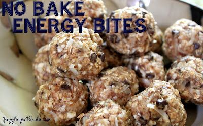 JUGGLING WITH KIDS: NO-BAKE ENERGY BITES RECIPEFun Recipe, Chocolates Chips, Bites Size, Yummy Food, No Bak Energy, Almond Butter, Nobake Energy, Peanut Butter, Energy Bites
