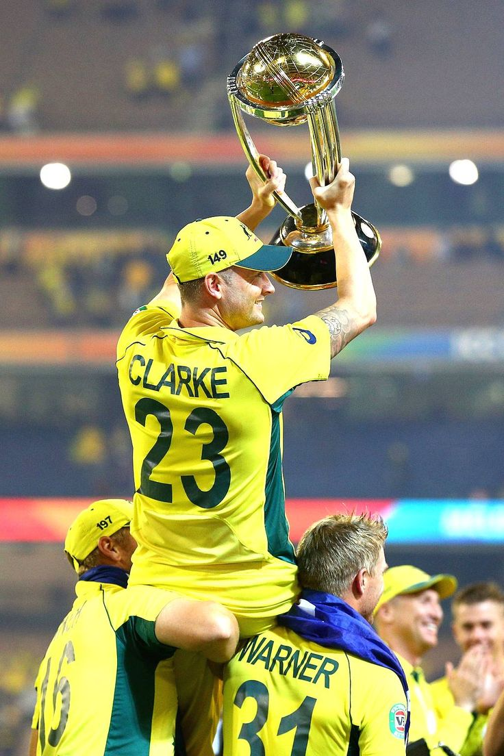 Australian captain Michael Clarke is chaired on the shoulders of team mates after winning the 2015 ICC Cricket World Cup.