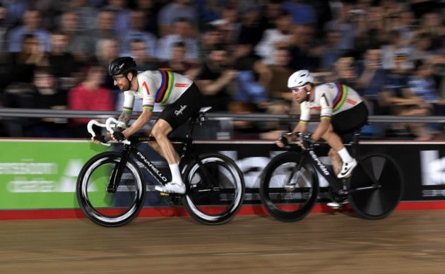Great Britain's Sir Bradley Wiggins and Mark Cavendish competing at the Six Day London event at Lee Valley Velopark (pic Adam Davy/PA)