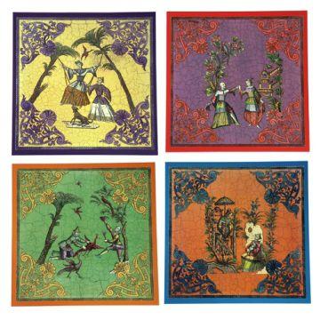 Ce superbe ensemble fait partie des pièces emblématiques que Marisa a crée pour SIECLE. Chaque set représente une scène de vie « à l''asiatique », gravures réalisées sous Louis XIV et sous la Régence. A l'origine en grisaille, Marisa les a aquarellé, puis mis en scène a l'intérieur d'un riche cartouche de lambrequins. Limitée ici à une série de quatre, la série complète en vrai découpage décline en faite 12 thèmes différents, disponible uniquement sur commande.