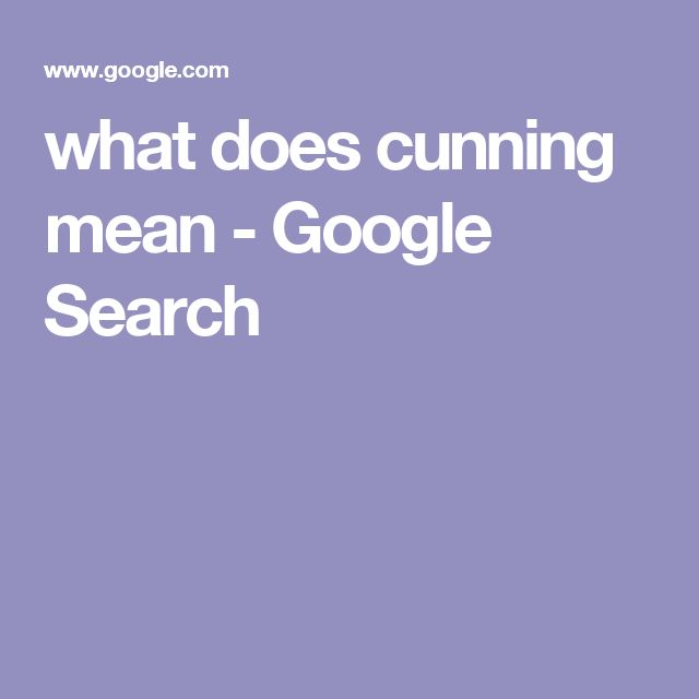 what does cunning mean - Google Search